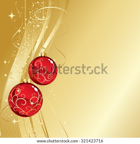 Christmas card with baubles - stock vector