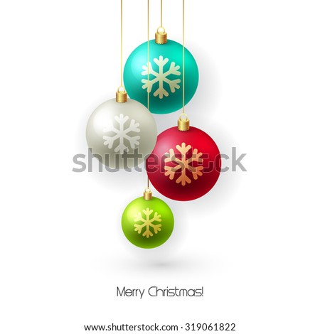 Christmas card with baubles. Christmas  tree decoration. Vector illustration. - stock vector
