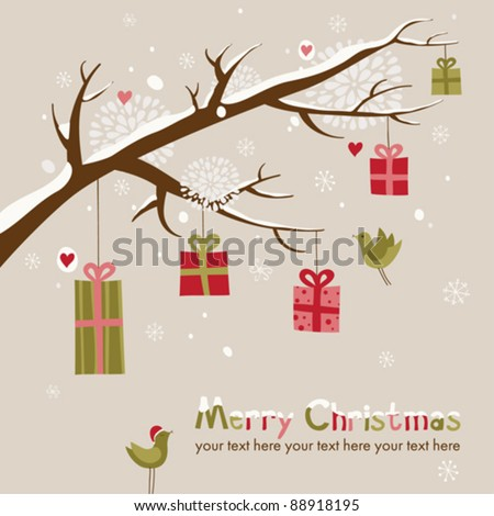Christmas card with beautiful winter branch and gifts on it - stock vector