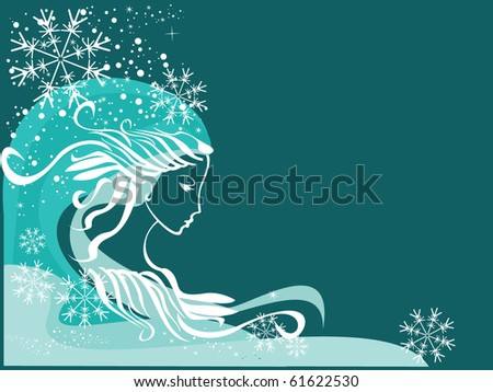 Christmas card with beautiful Winter Lady. Snowflakes in the blue sky,