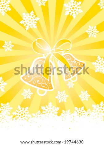 Christmas card with bells and snowflakes on gold background with rays - stock vector