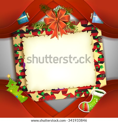 Christmas card with bow and old paper - stock vector
