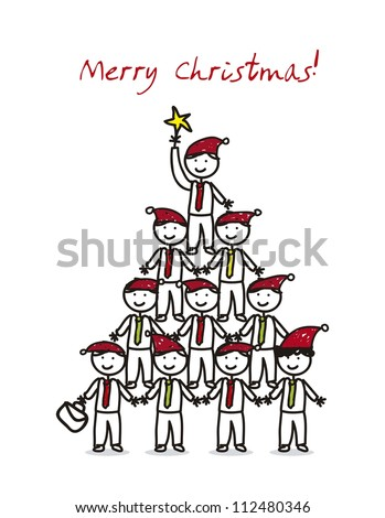 christmas card with businessman over white background. vector