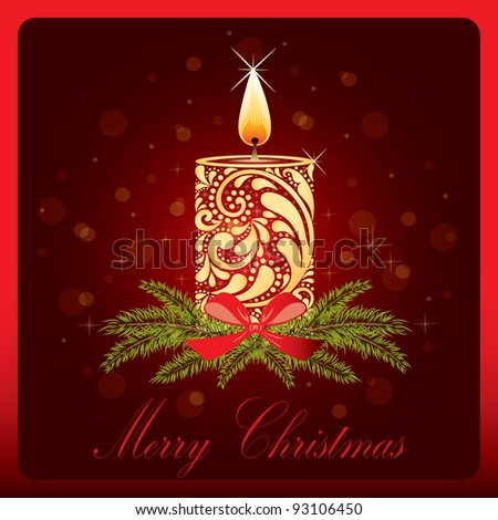 Christmas Card with candle. - stock vector