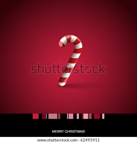 Christmas card with candy cane - stock vector