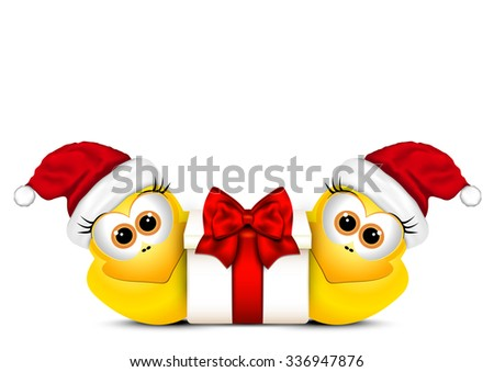 Christmas card with chickens in Santa hat. - stock vector