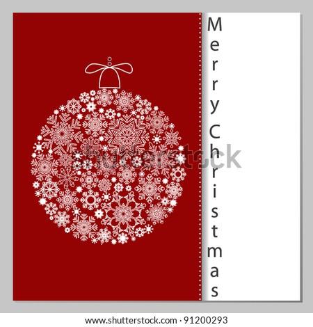 Christmas Card with Christmas ball. - stock vector