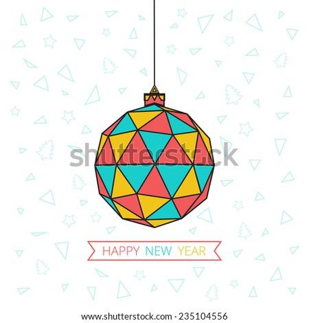 Christmas card with Christmas ball of triangles - stock vector