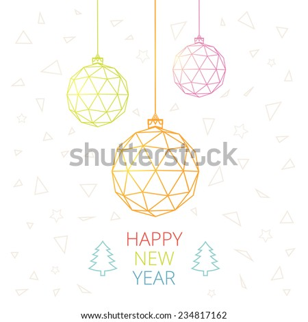 Christmas card with Christmas balls of triangles - stock vector