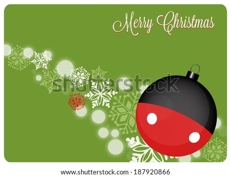 christmas card with christmas decoration and snowflakes on green background
