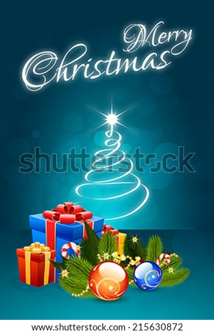 Christmas Card with Christmas Decorations and Christmas Tree - stock vector