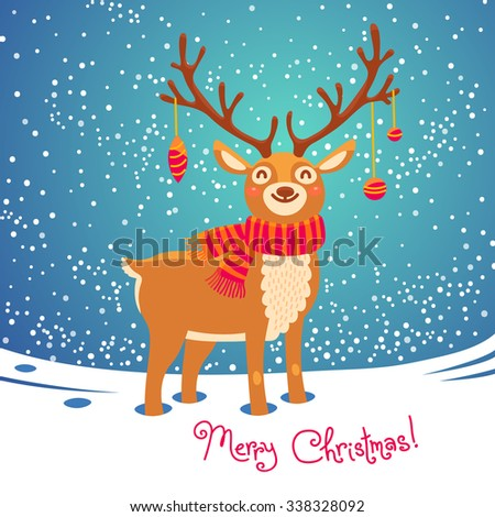 Christmas card with christmas santa reindeer. Cute cartoon deer with scarf.  Merry christmas background. Vector illustration - stock vector