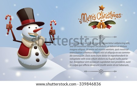 Christmas card with Christmas snowman in black tall hat and red jacket holding candies, vector - stock vector
