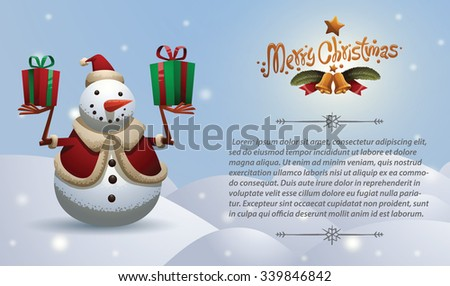 Christmas card with Christmas snowman in christmas hat holding two gift boxes, vector - stock vector