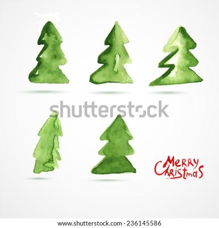 Christmas card with Christmas tree. Hand drawn watercolor Christmas Trees. - stock vector