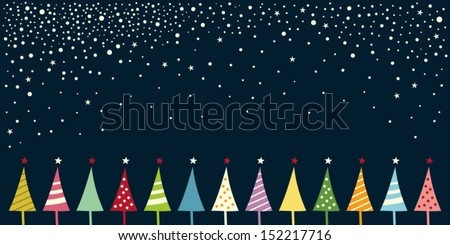 christmas card with christmas trees - stock vector