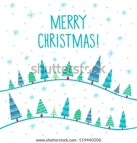 christmas card with christmas trees and snowflakes on white background