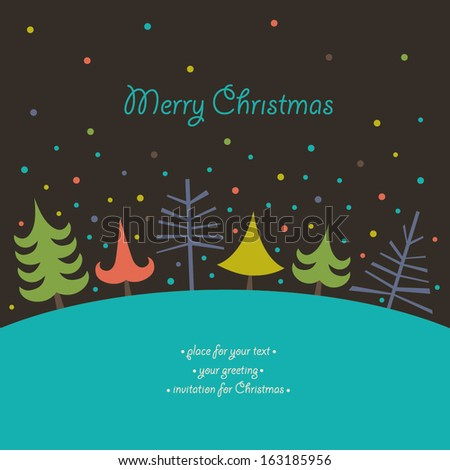 Christmas card with Christmas trees. It can be used for a Christmas design.