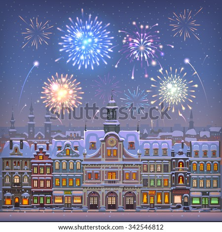 Christmas card with cityscape and fireworks - stock vector