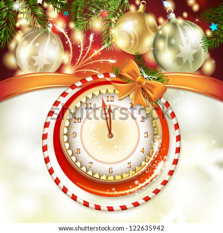 Christmas card with clock and ball