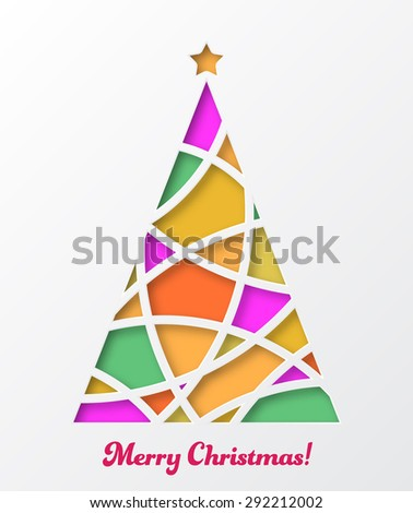 Christmas card with colored christmas tree and star in cut paper style. Vector illustration. - stock vector