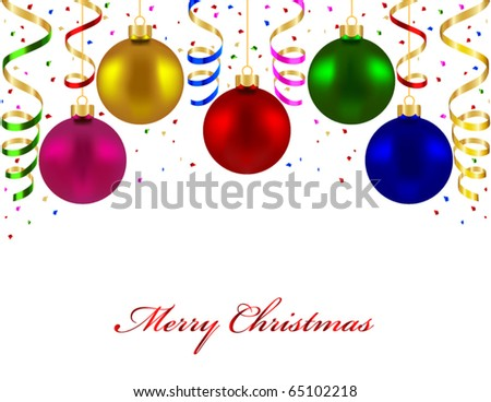 Christmas card with colorful balls - stock vector