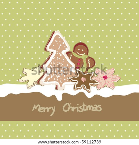 christmas card with cookies - stock vector