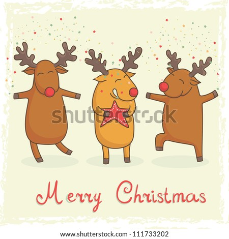christmas card with cute cartoon deers - stock vector