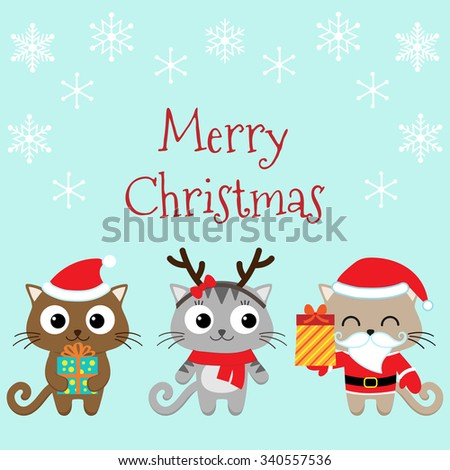 Christmas card with cute cats in costumes - stock vector