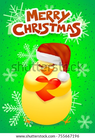 Christmas card with cute chick, Santa hat and heart. Vector illustration eps10