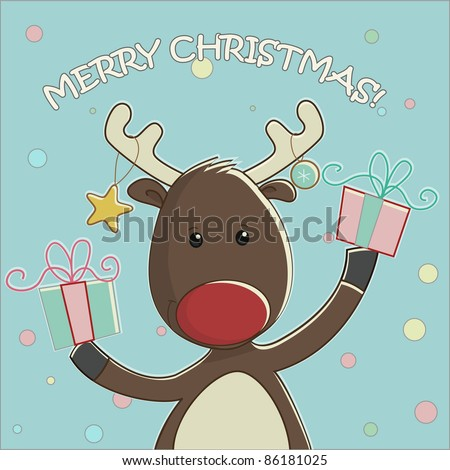 christmas card with cute happy cartoon reindeer with gifts in vintage style - stock vector