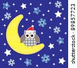 Christmas card with cute owl.Vector textile stickers - stock vector