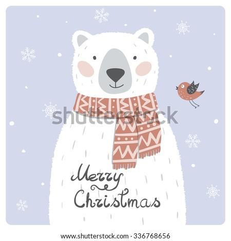 Christmas Card with Cute Polar Bear - stock vector