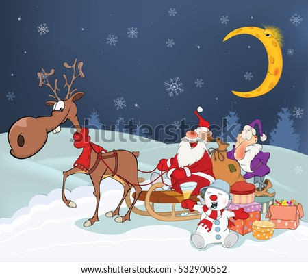 Christmas Card with Cute Santa Claus and Reindeer. Vector Illustration