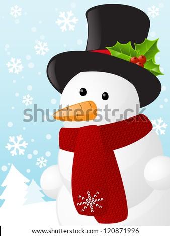 Christmas card with cute snowman - stock vector