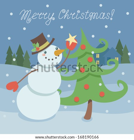 Christmas card with cute snowman decorating Christmas tree with a star on background with winter landscape. Vector illustration - stock vector