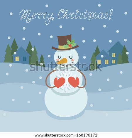 Christmas card with cute snowman holding snowflake on background with winter landscape. Vector illustration - stock vector