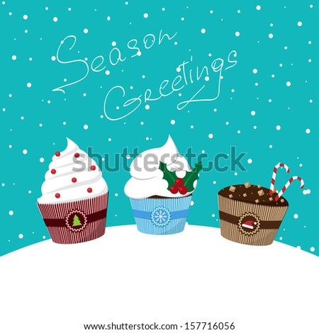 christmas card with decorated cupcakes on the snowy background vector  - stock vector