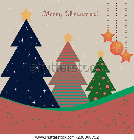 Christmas card with decorated fir trees - stock vector