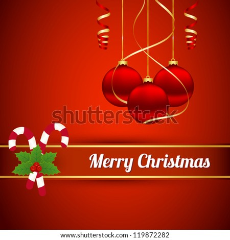Christmas card with decorations - stock vector