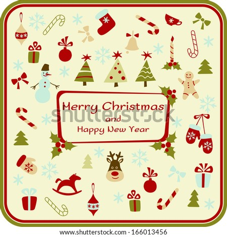 Christmas card with decorative elements. Vector illustration - stock vector