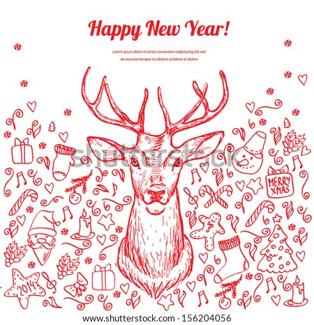 Christmas card with deer in vector, doodle hand drawn element - stock vector