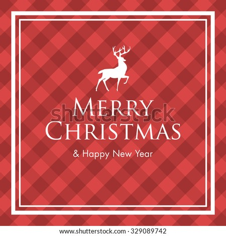 Christmas card with deer, logo title and gingham pattern background. Editable vector design. - stock vector