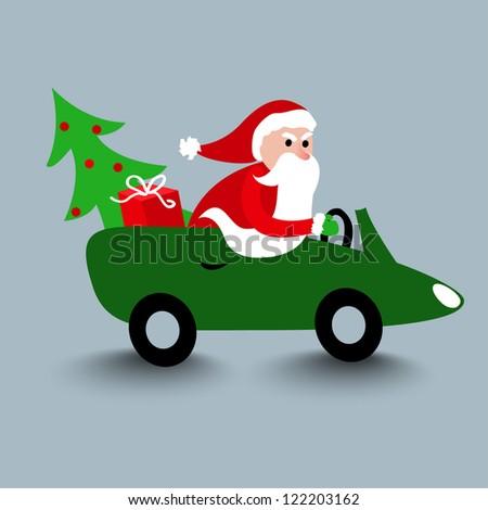 Christmas card with driving Santa. Xmas card - stock vector