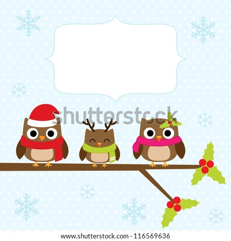 Christmas card with family of owls. - stock vector
