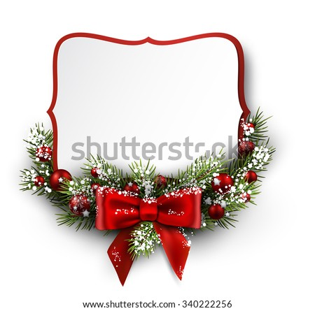 Christmas card with fir branch and bow. Vector illustration. - stock vector