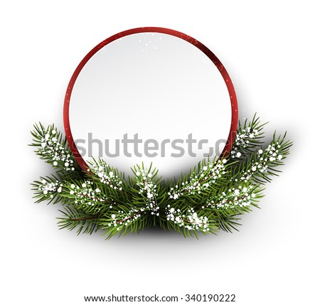 Christmas card with fir branch and snowflakes. Vector illustration. - stock vector