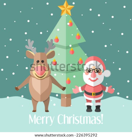 Christmas card with fir tree and Santa Claus and reindeer - stock vector