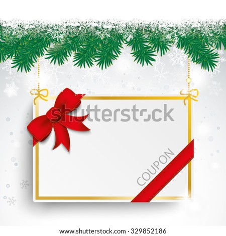 Christmas card with fir twigs, snow and coupon card. Eps 10 vector file. - stock vector