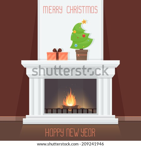 Christmas Card with fireplace